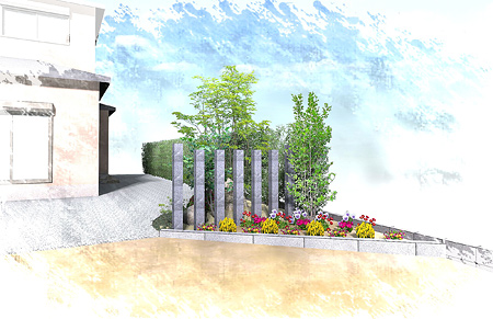牧之原市 K様邸。目隠しと花壇の増設 施工写真1